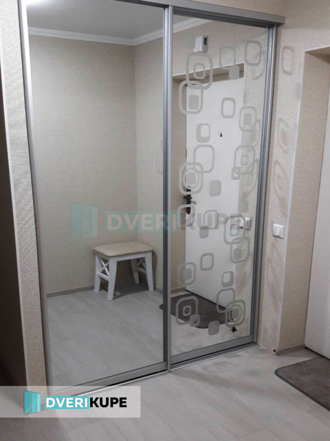 Двери купе зеркало с пескоструем на заказ Киев